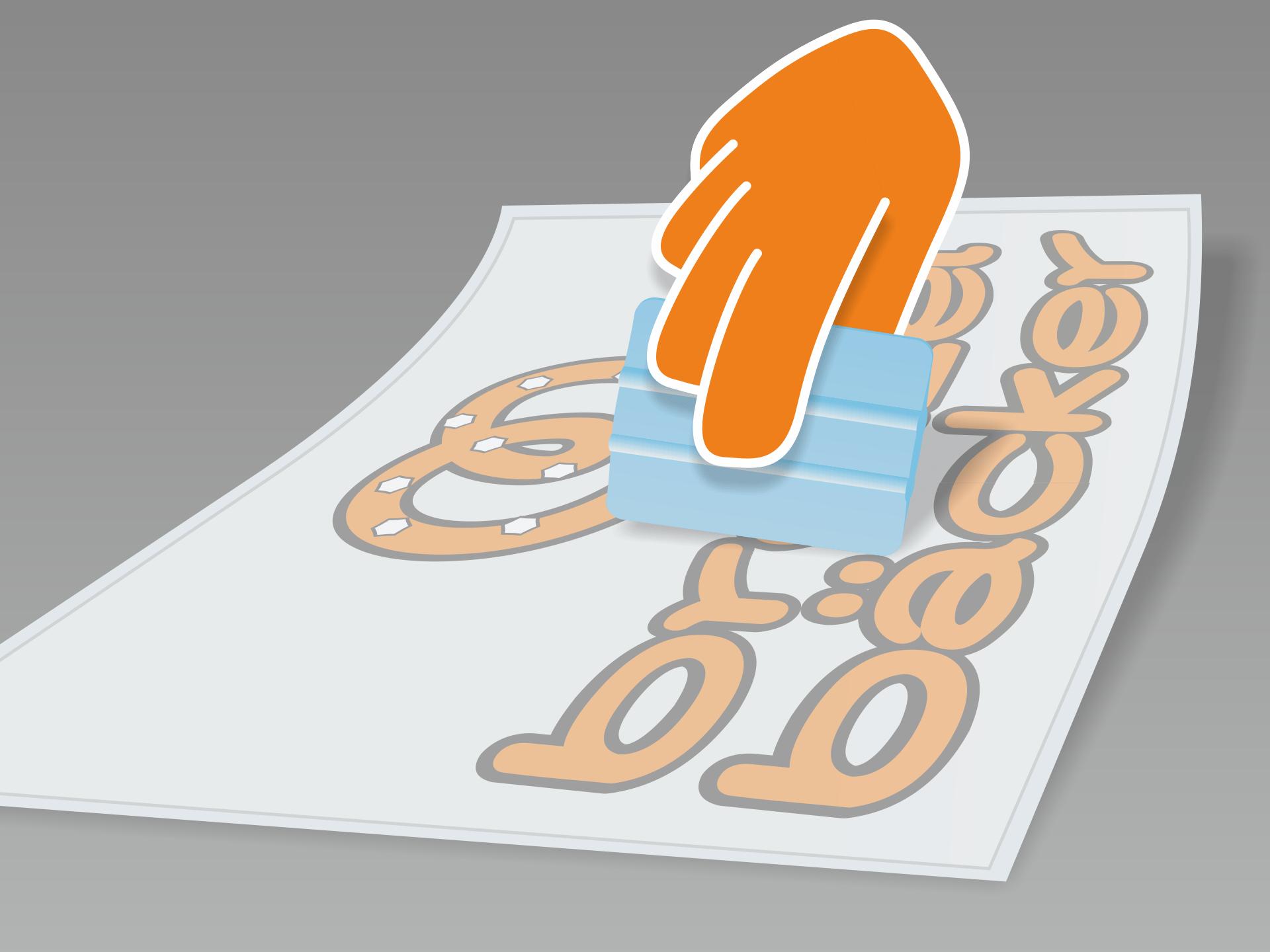 Aufkleber flach auf glattem Untergrund ausrollen und mit Rakel (oder Scheckkarte) fest über Vor- und Rückseite streichen.