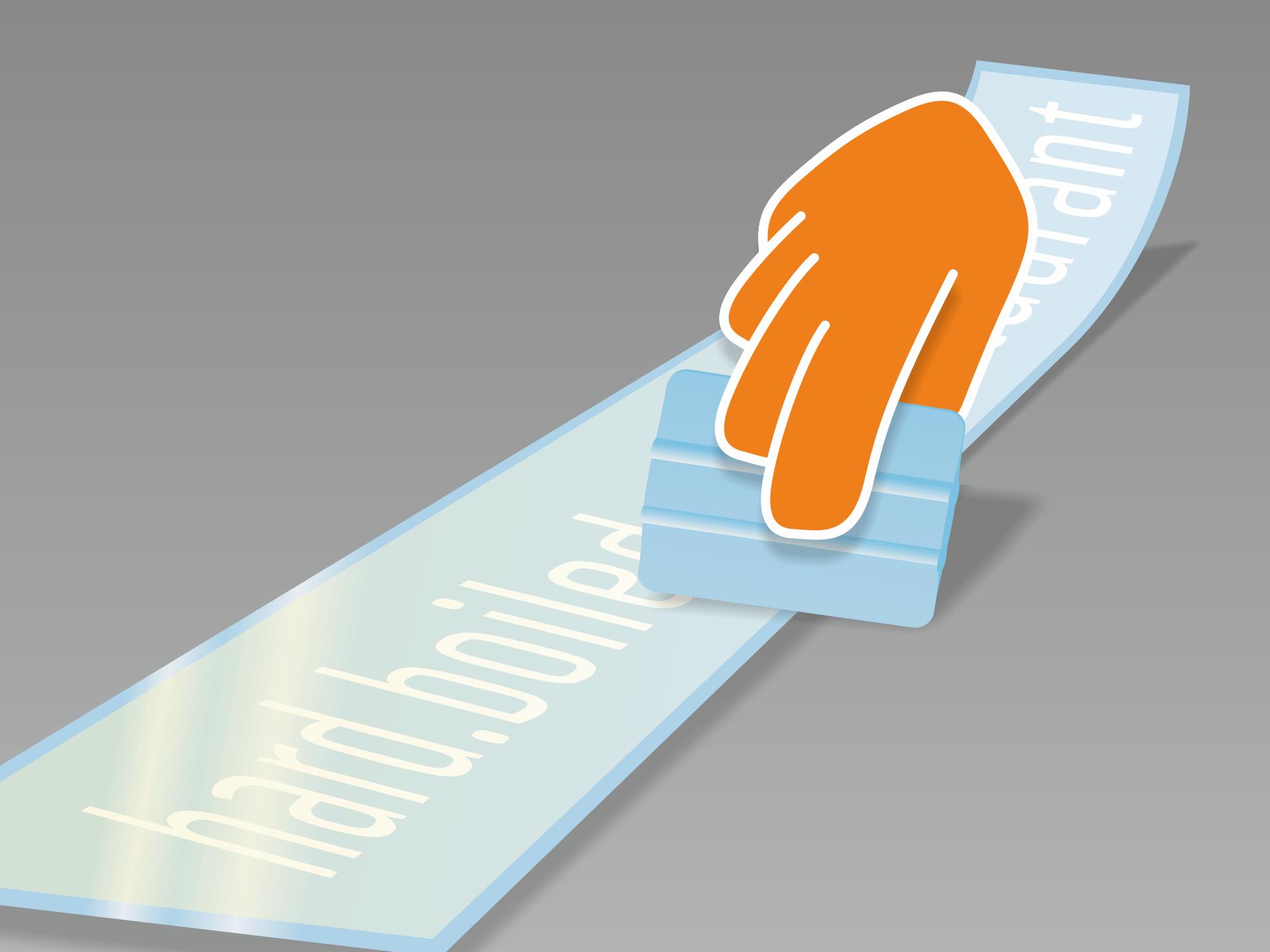 Aufkleber flach hinlegen und mit Rakel (oder Kreditkarte) fest über Vorder- und Rückseite streichen.