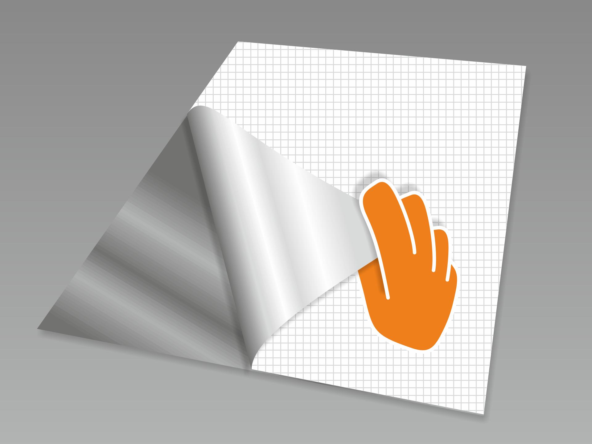 Aufkleber nochmal abnehmen und das rückseitige Trägerpapier vorsichtig lösen.