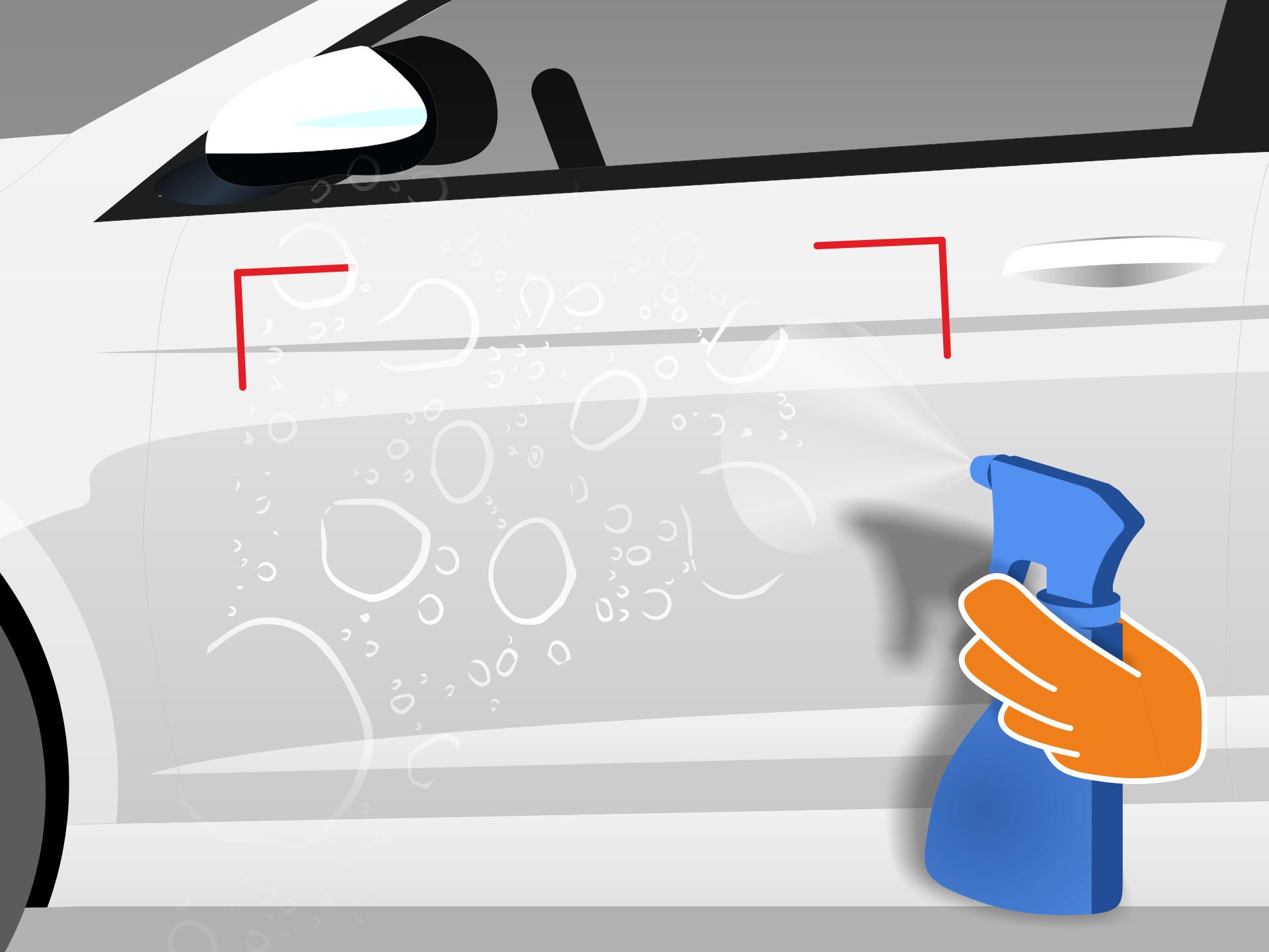 Klebefläche und auch den Untergrund vollständig mit einem Wasser-Spülmittel-Gemisch (1 Tropfen Spülmittel auf 1L Wasser) besprühen.