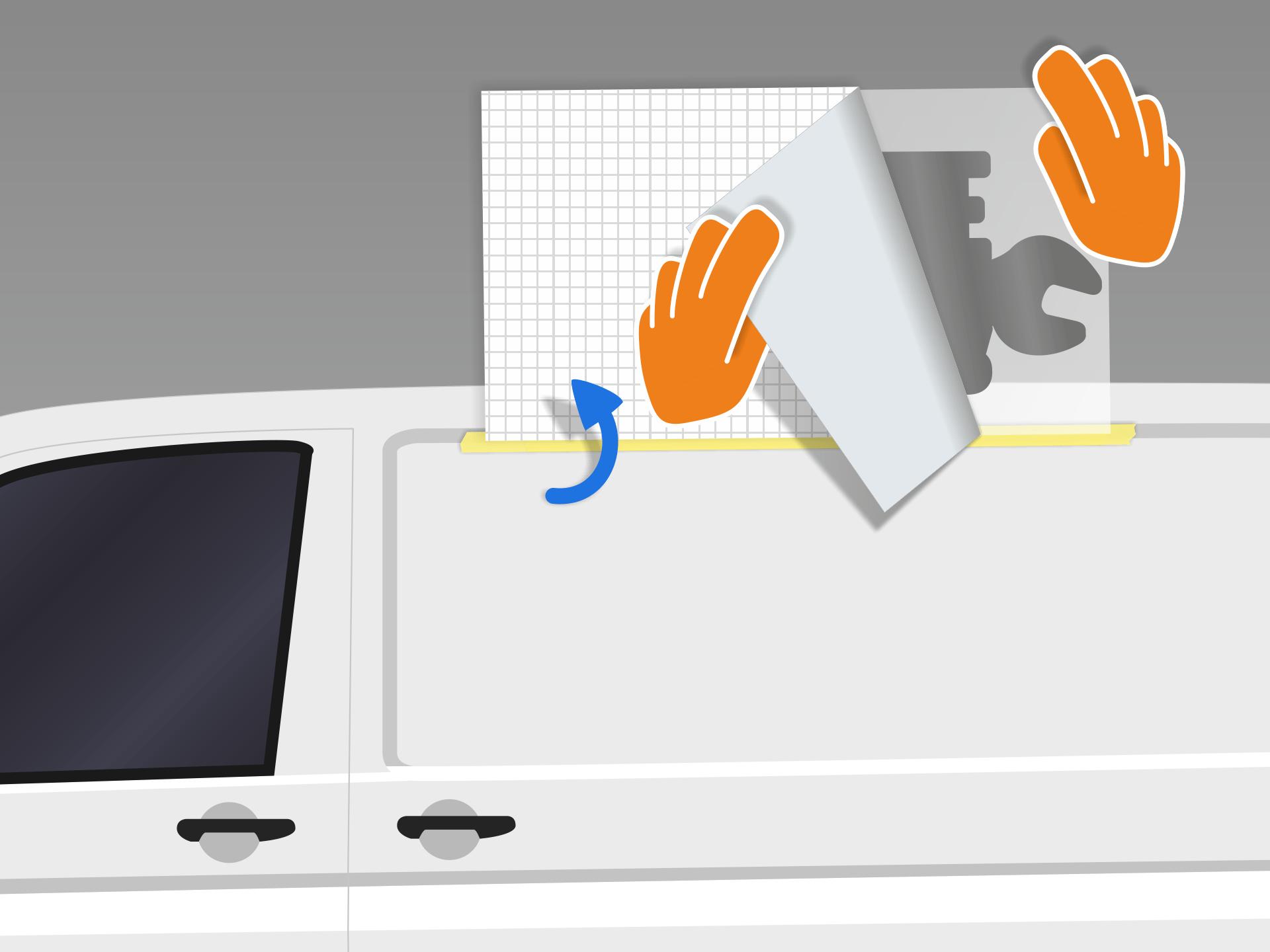 Aufkleber nach oben umklappen um das rückseitige Trägerpapier vorsichtig abzuziehen. Vorsicht: Das Folienmotiv muss dabei vollständig an der Übertragungsfolie haften bleiben.