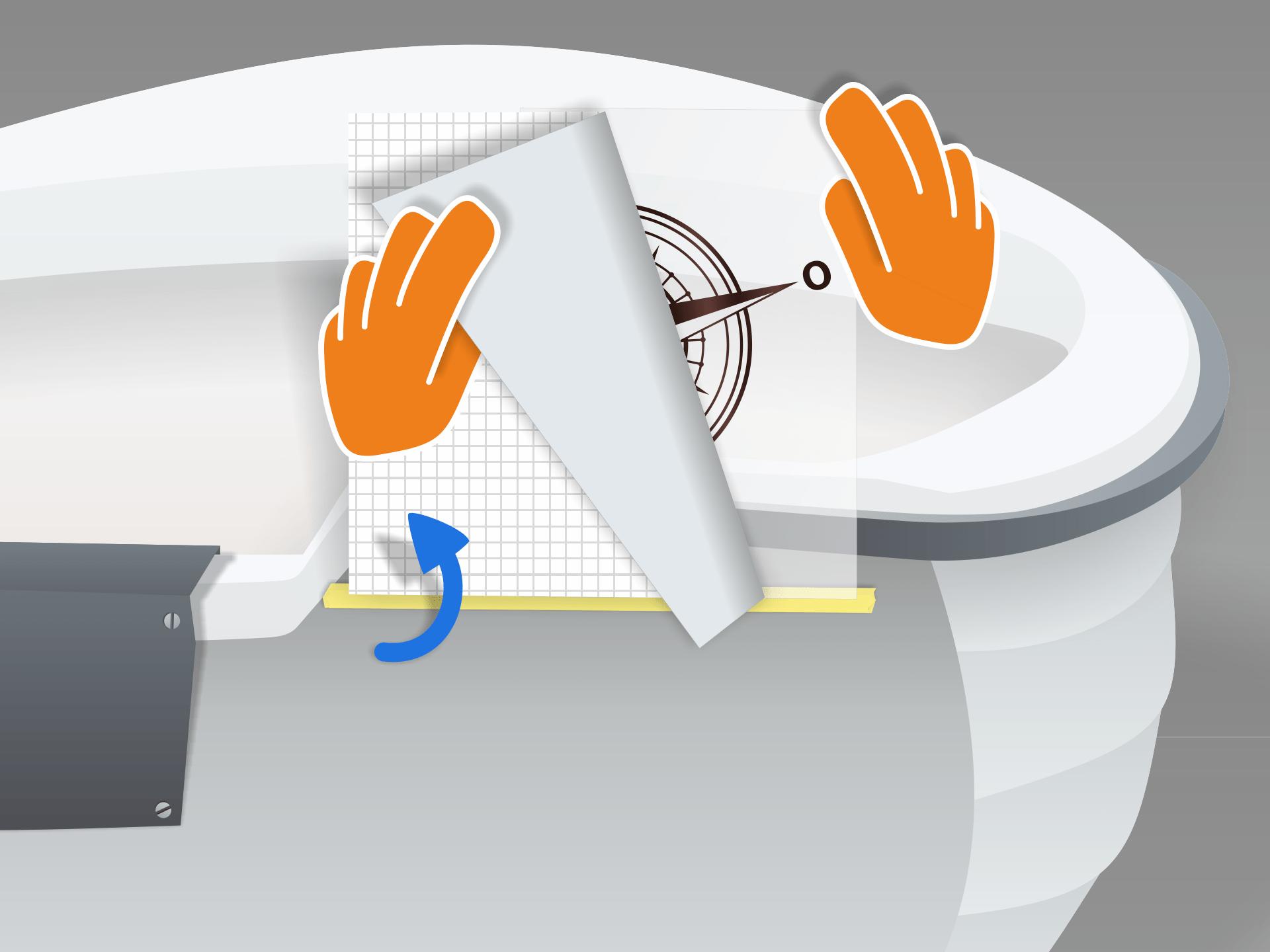 Aufkleber nach oben klappen und das rückseitige Trägerpapier vorsichtig abziehen.   Vorsicht: Das Motiv muss dabei vollständig an der Übertragungsfolie haften bleiben.