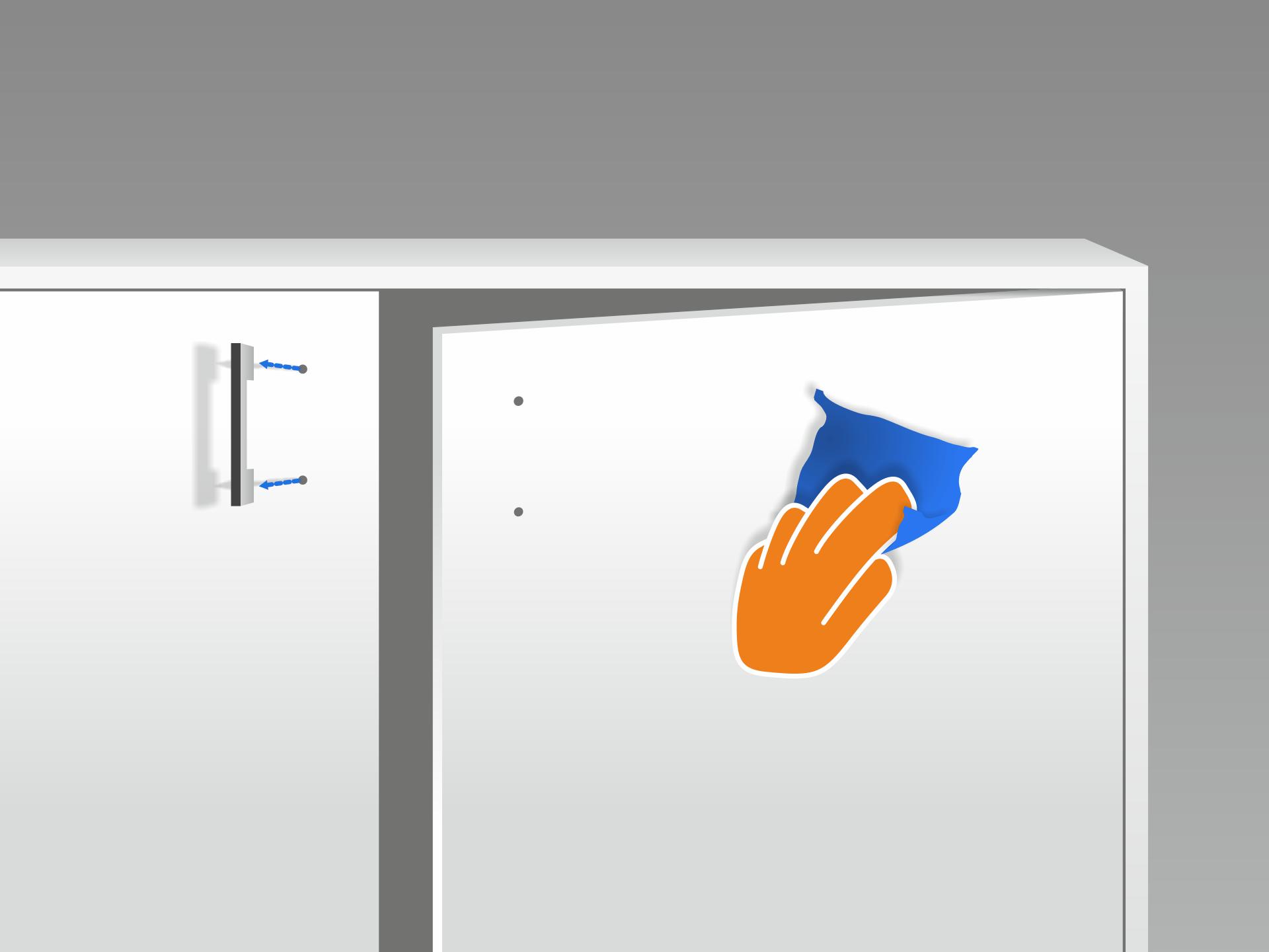 Den Untergrund gründlich mit Glasreiniger reinigen. Er sollte staub- und fettfrei sein. Hervorstehende Kleinteile (Türgriffe etc.) abbauen. Türen können zur Erleichterung der Verklebearbeiten ggf. ausgehangen werden.