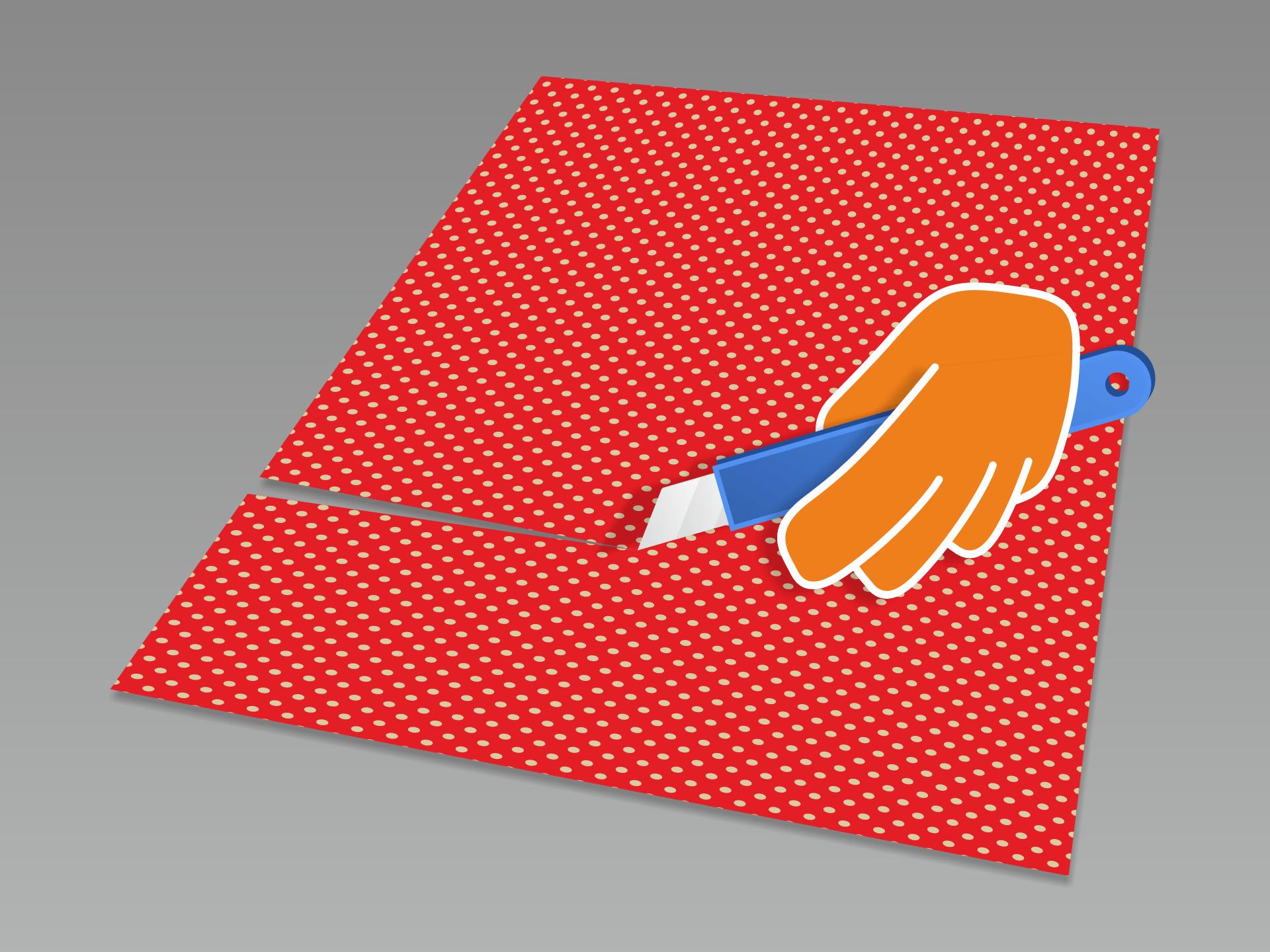 Die Folie mit einem Cuttermesser grob zuschneiden und an die zu beklebenden Flächen anpassen. Die Folienzuschnitte sollten etwas größer sein als die Flächen. Besonders dann, wenn die Kanten später umgelegt werden sollen (siehe Schritt 7).