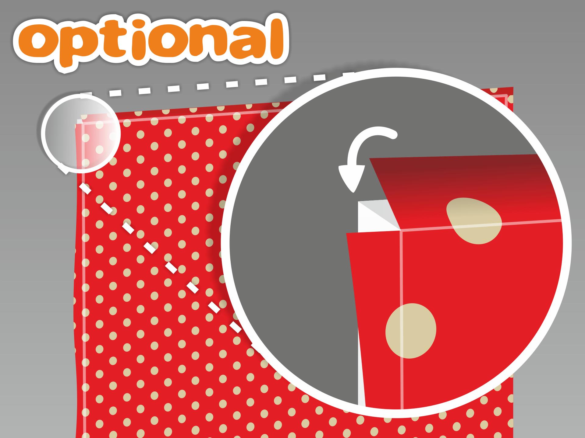 Optional zu Schritt 6 können die überstehenden Folienränder auch umgelegt werden. Schneide die Folie an den Ecken so ein wie abgebildet. Wichtig: Solltest Du die Folienränder umlegen wollen, musst Du jede Möbelfläche einzeln beziehen und ausreichen Folienrand einplanen.