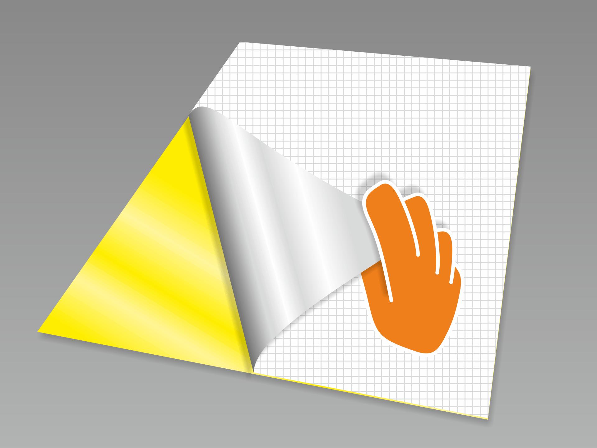 Rückseitiges Trägerpapier vorsichtig lösen.