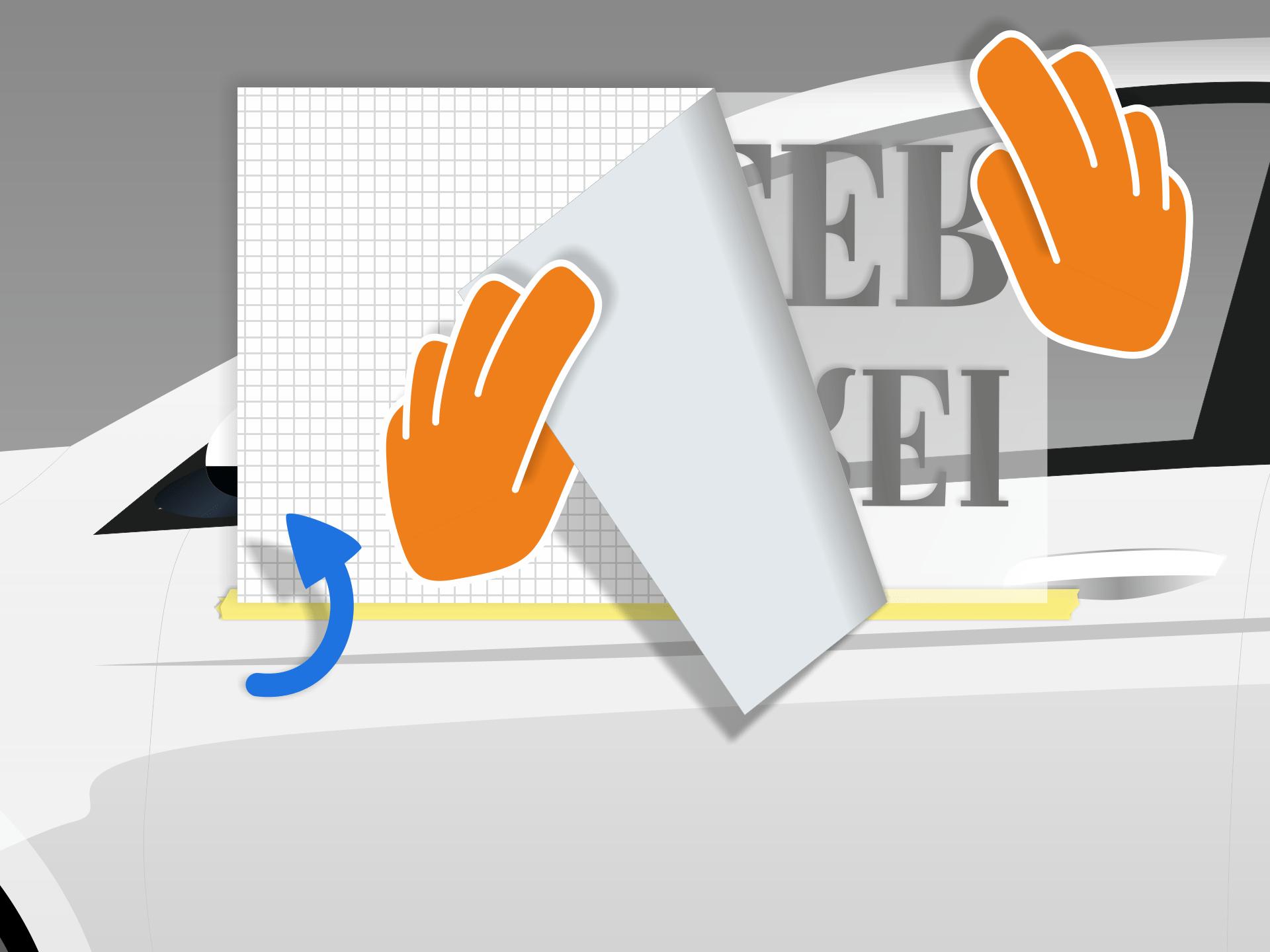 Aufkleber nach oben klappen und das rückseitige Trägerpapier vorsichtig abziehen. Vorsicht: Der Folientext muss dabei vollständig an der Übertragungsfolie haften bleiben.