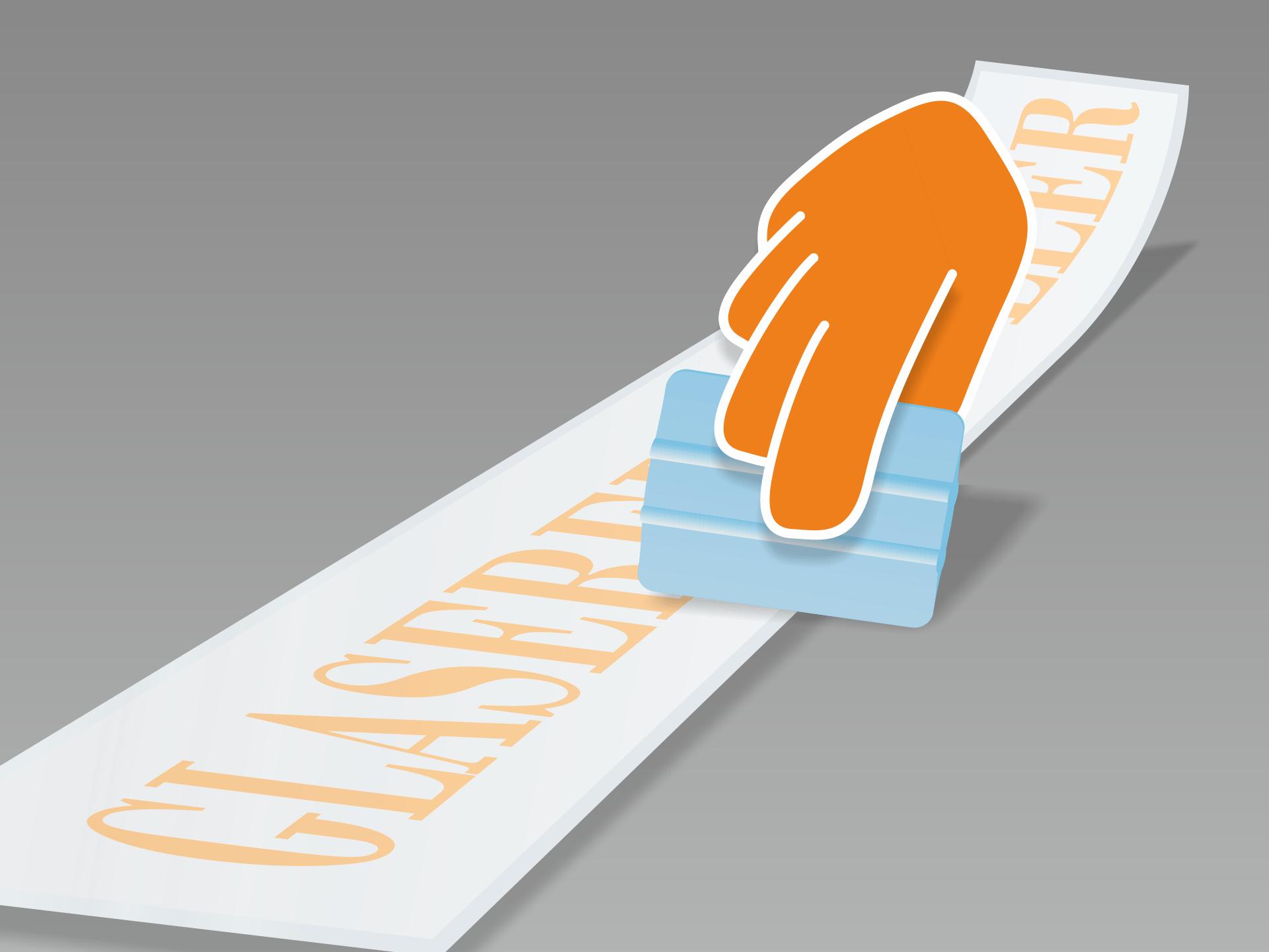 Aufkleber flach auslegen und mit Rakel (oder Kreditkarte) fest über Vor- und Rückseite streichen.