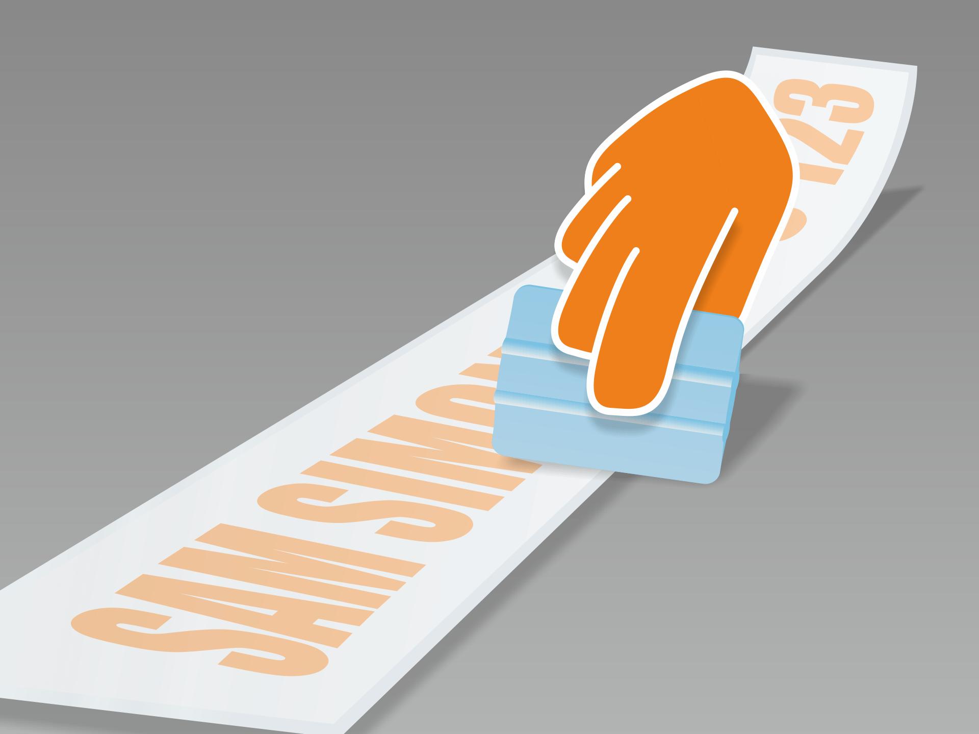 Aufkleber flach ausrollen und mit Rakel (oder Kreditkarte) fest über Vorder- und Rückseite streichen.
