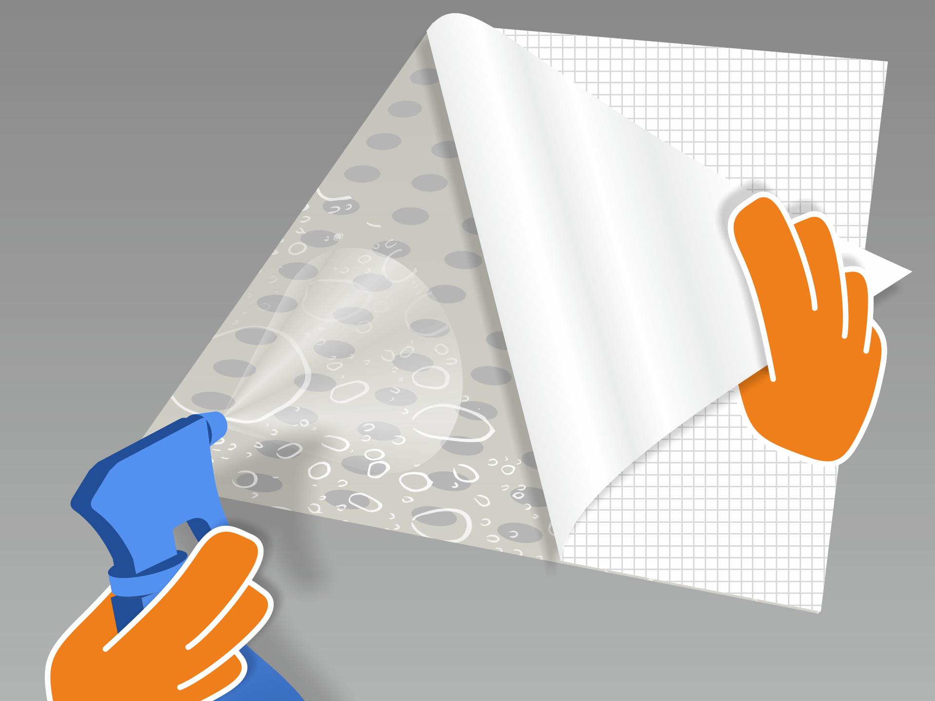 Jetzt das Trägerpapier sehr vorsichtig von der Folie lösen und die freigelegte Klebeseite vollständig mit dem Wasser-Spülmittel-Gemisch besprühen. Montiert Ihr zu zweit? Dann kann Person 1 die Folie in der Luft halten, während Person 2 das Trägerpapier abzieht und die Klebeseite besprüht.
