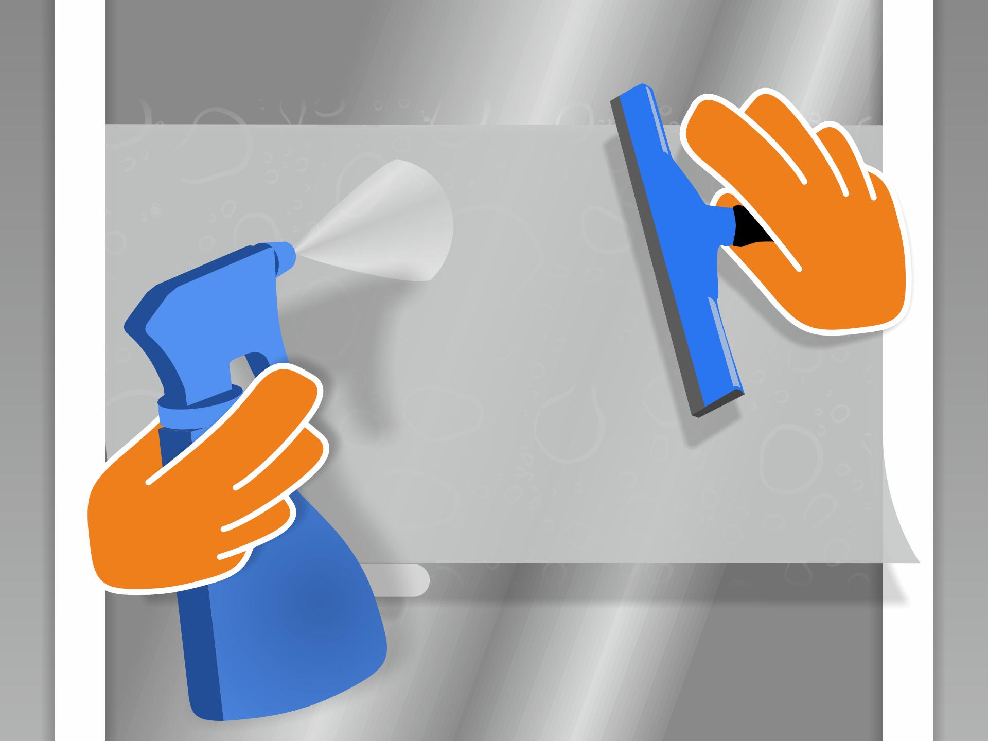 """Jetzt die Folie mit der Klebeseite zum Glas gerichtet auflegen. Die Folie """"schwimmt"""" nun auf dem Glas und kann positioniert werden. Auch die Oberfläche leicht besprühen. So gleitet die Gummilippe besser. Mit ihr streichst Du das Wasser unter der Folie von der Mitte zum Rand hin aus."""
