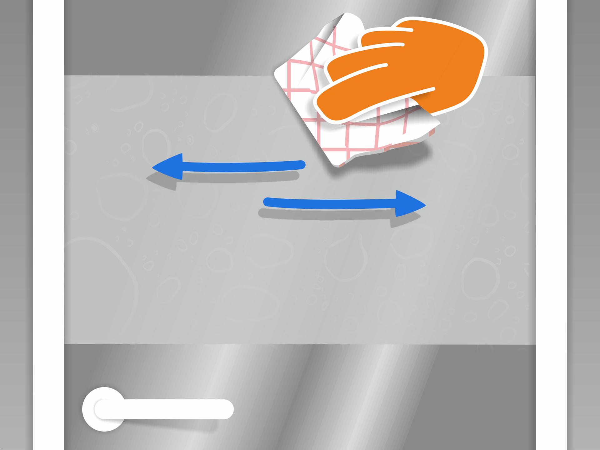 Nun mit dem Rakel arbeiten um die Restfeuchte mit festerem Druck auszustreichen. Wieder von der Mitte aus zum Rand arbeiten. Tipp: Zum Schluss den Rakel mit einem saugfähigen Küchenpapier bespannen. So wird die Flüssigkeit am Rand aufgesaugt und fließt nicht zurück unter die Folie.