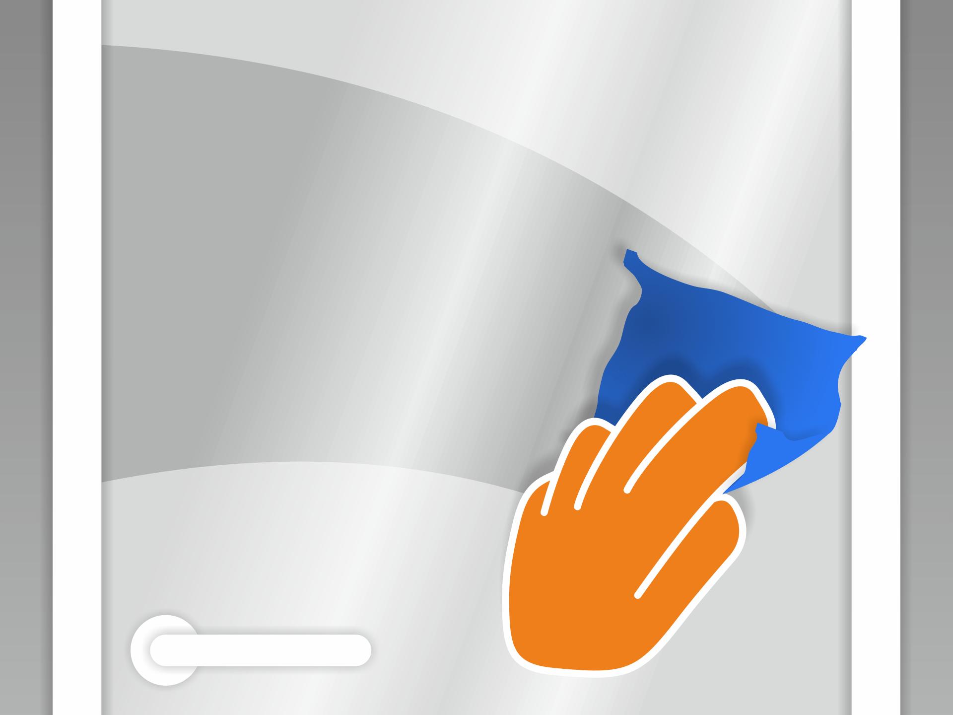 Untergrund (z.B. mit Glasreiniger) gründlich reinigen. Er muss staub- und fettfrei sein.