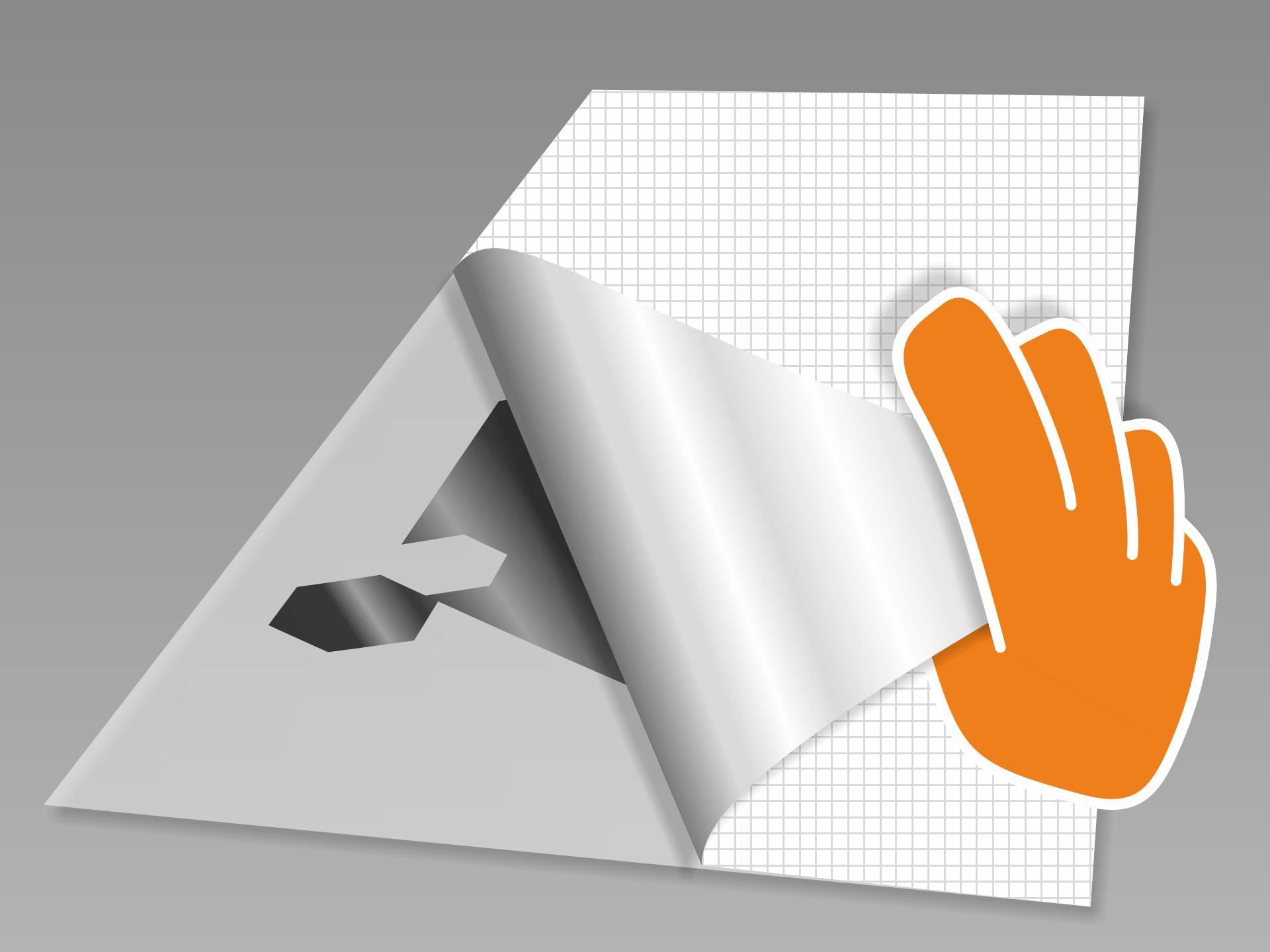 Tafelfolie abnehmen und mit dem Motiv nach unten auf einen glatten Untergrund legen. Nun das rückseitige Trägerpapier in flachem Winkel vorsichtig komplett abziehen.