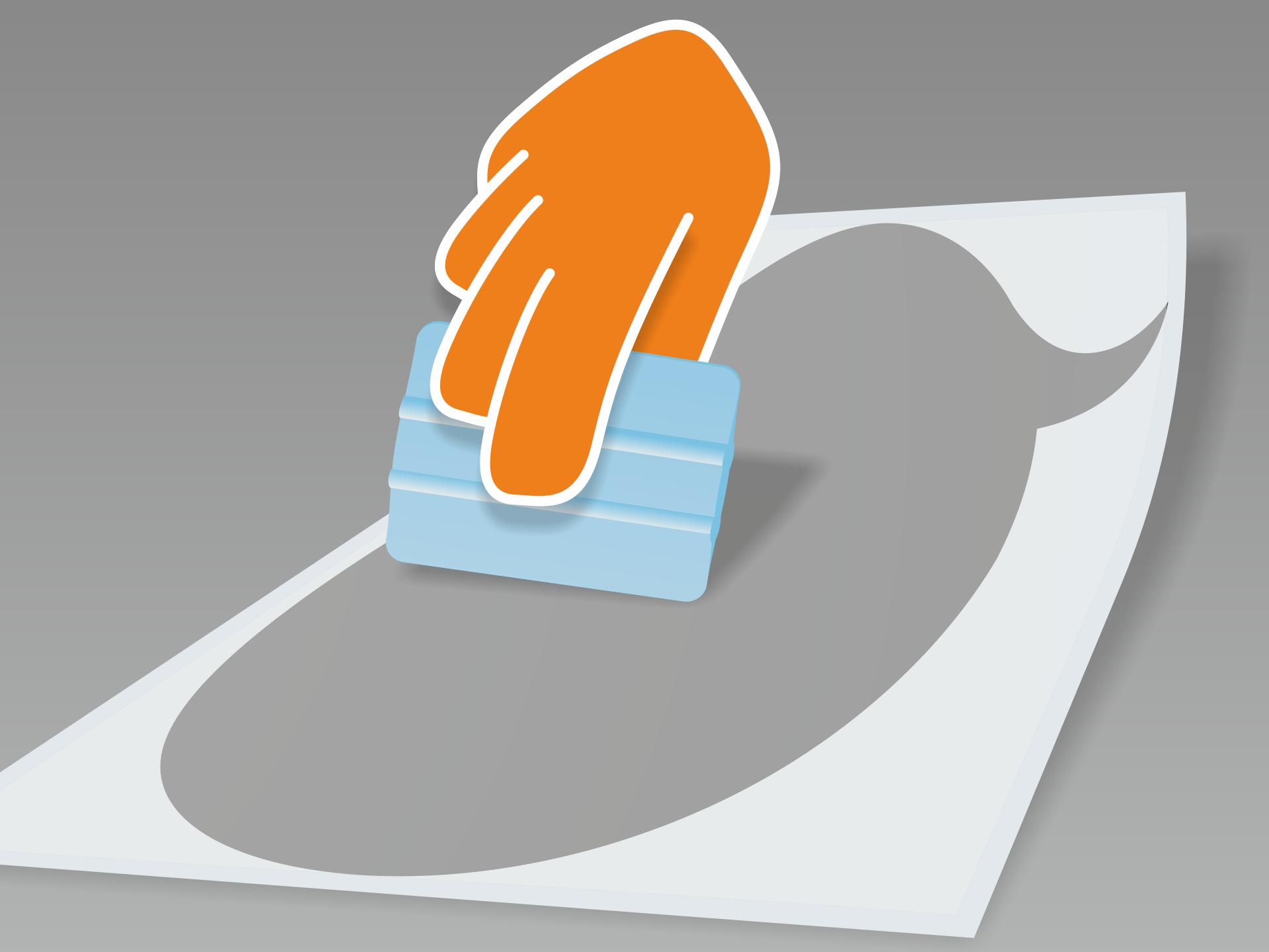 Tafeltattoo flach auf glattem Untergrund ausrollen und mit Rakel (oder Scheckkarte) fest über Vor- und Rückseite streichen.