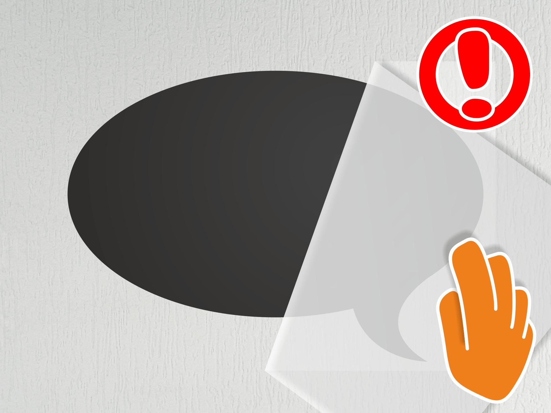 Die Übertragungsfolie bitte extrem vorsichtig und langsam lösen. Bleibt das Tafeltattoo dabei an einigen Stellen nicht auf der Wand – mit dem Finger nachdrücken.