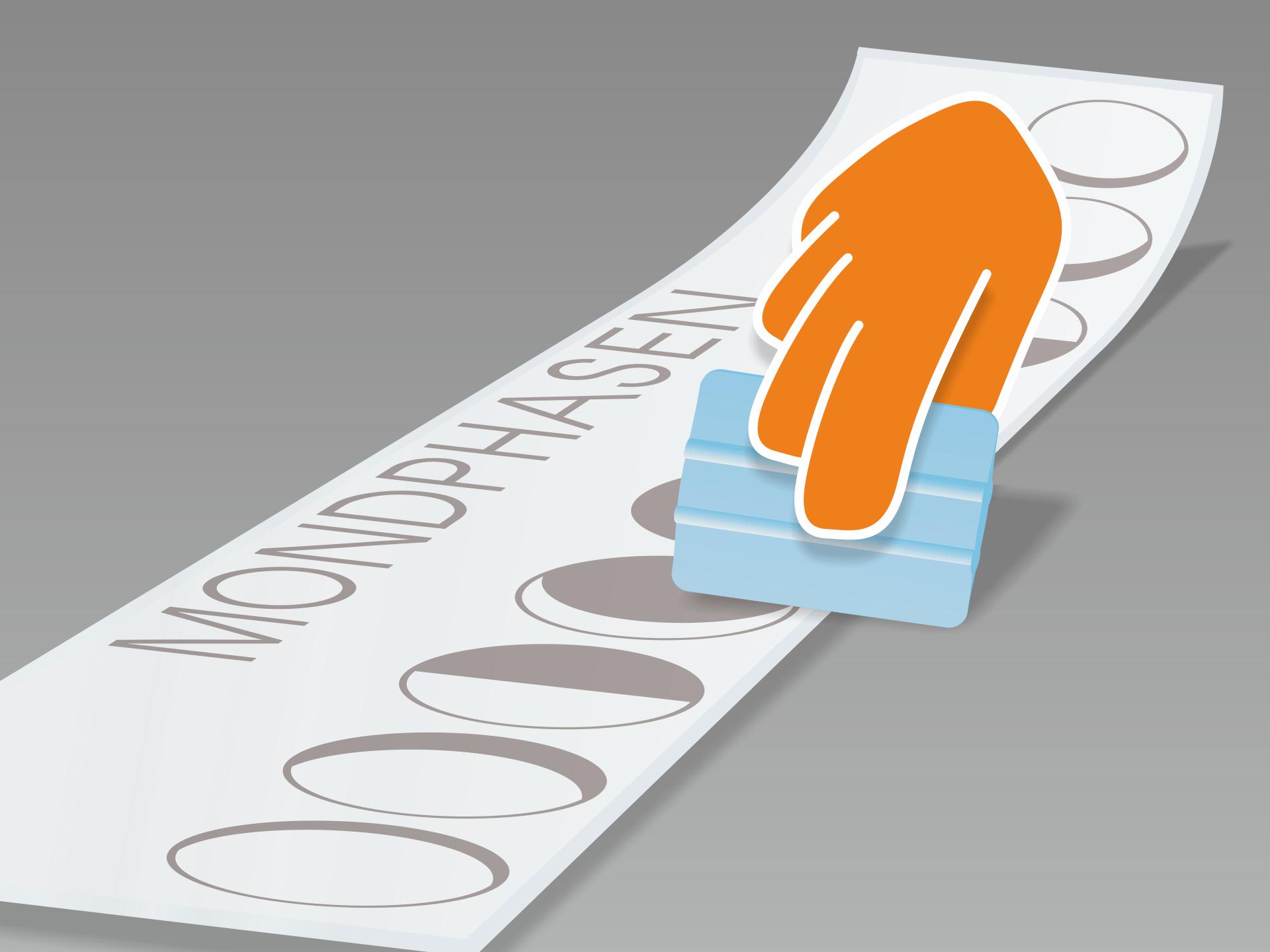 Wanddesign flach auf glattem Untergrund ausrollen und mit Rakel (oder Scheckkarte) fest über Vor- und Rückseite streichen.