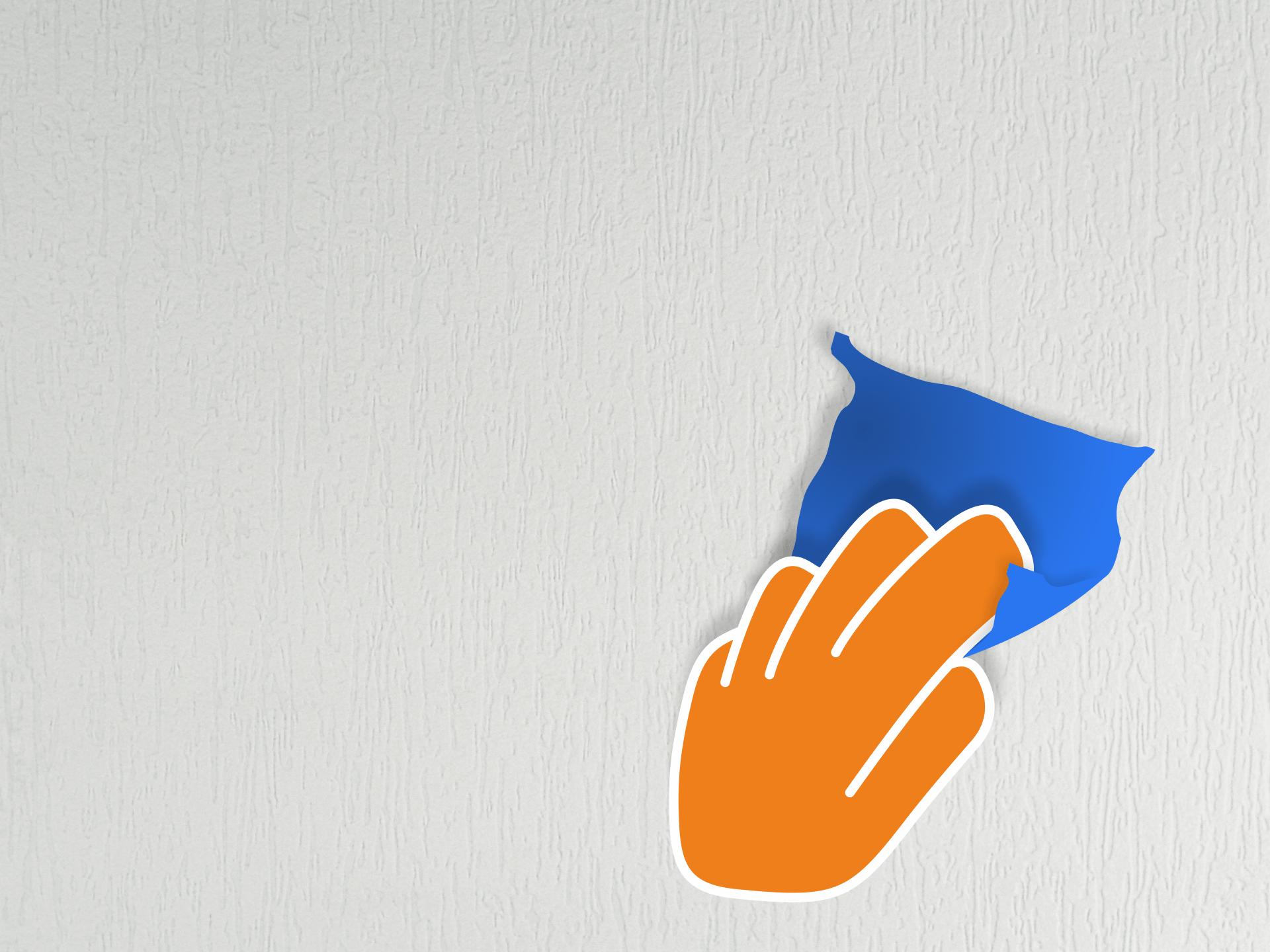 Wand trocken abwischen und entstauben.