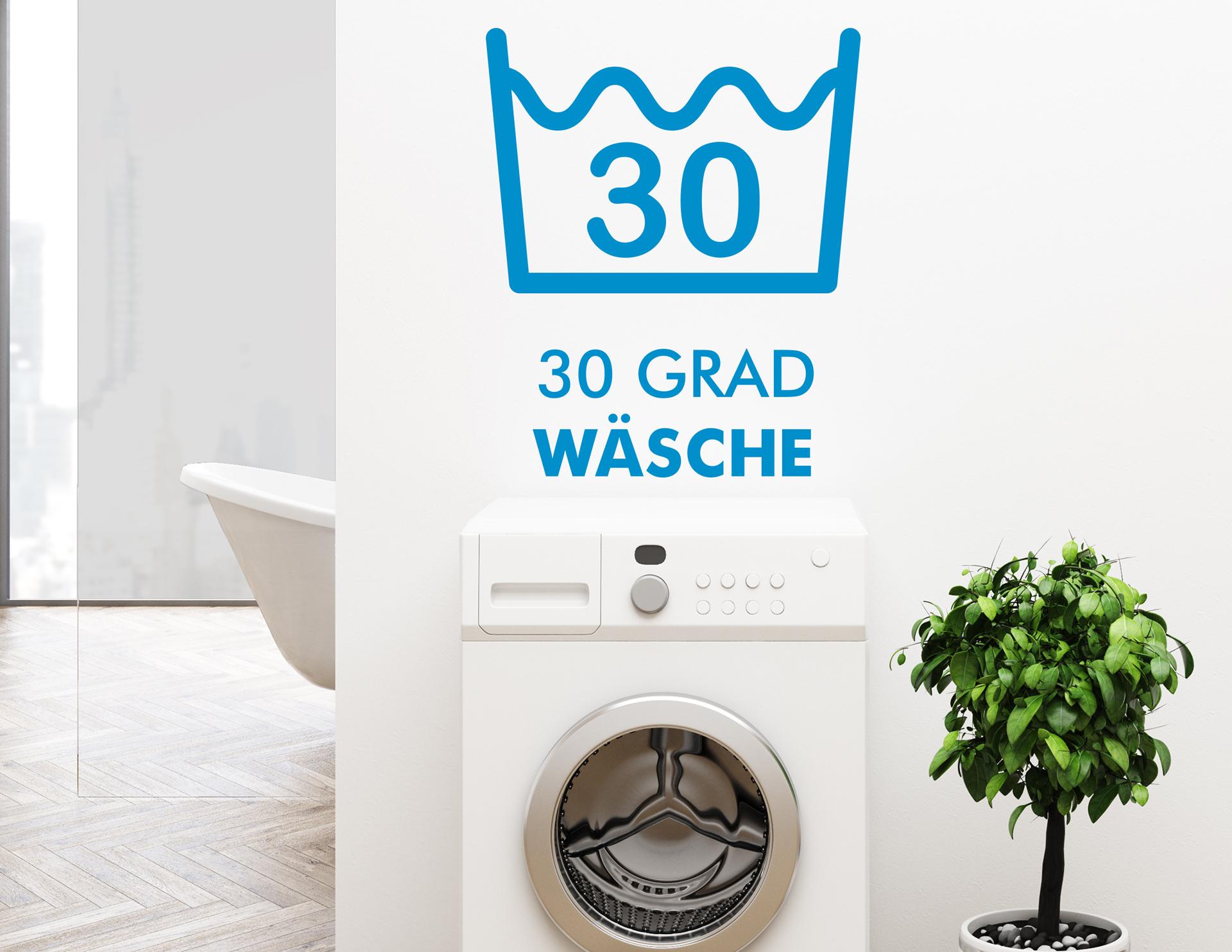 wandtattoo 30 grad f r die waschk che. Black Bedroom Furniture Sets. Home Design Ideas