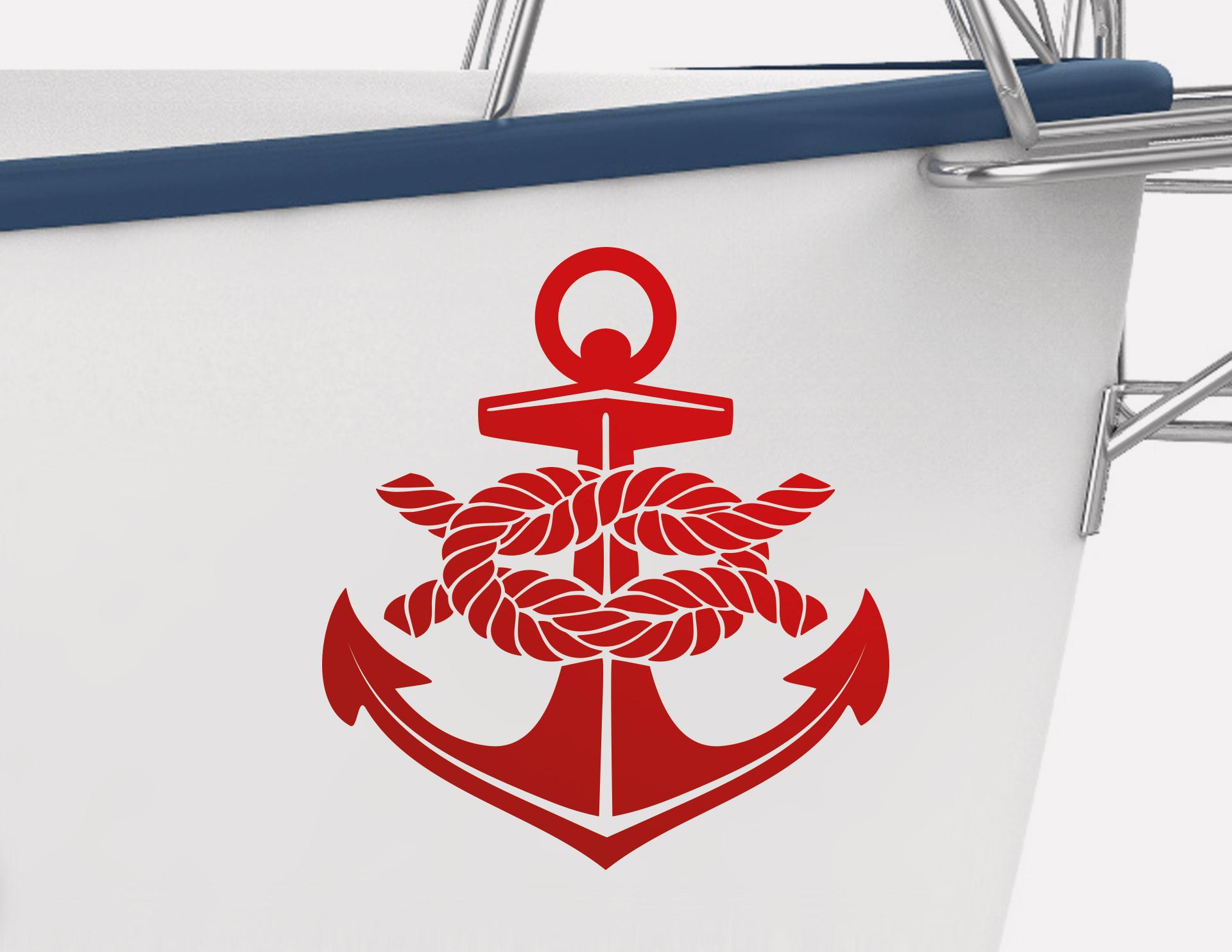 Bootsaufkleber anker mit knoten for Bootsaufkleber design