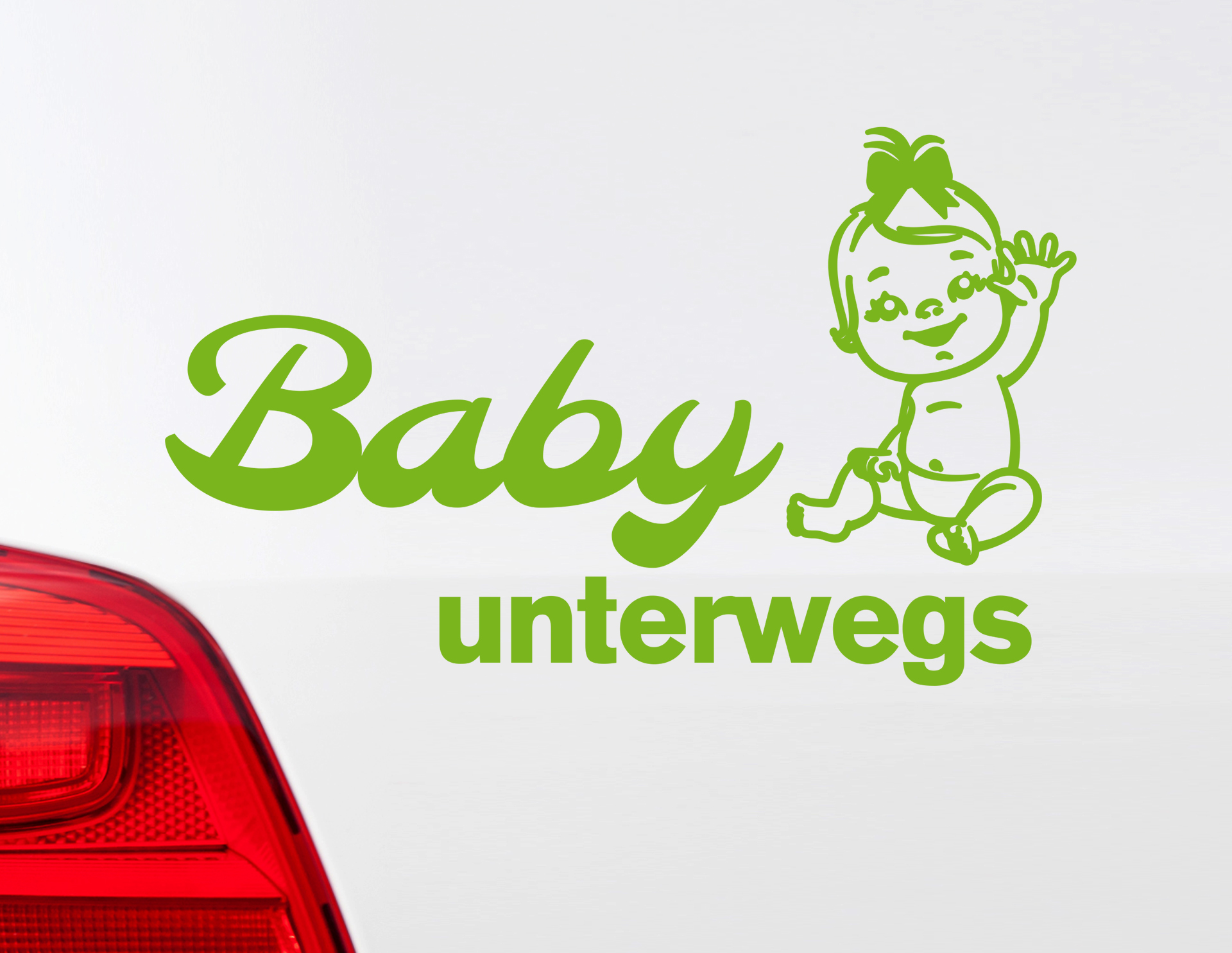 autoaufkleber baby girl unterwegs mit babyfigur schleife. Black Bedroom Furniture Sets. Home Design Ideas