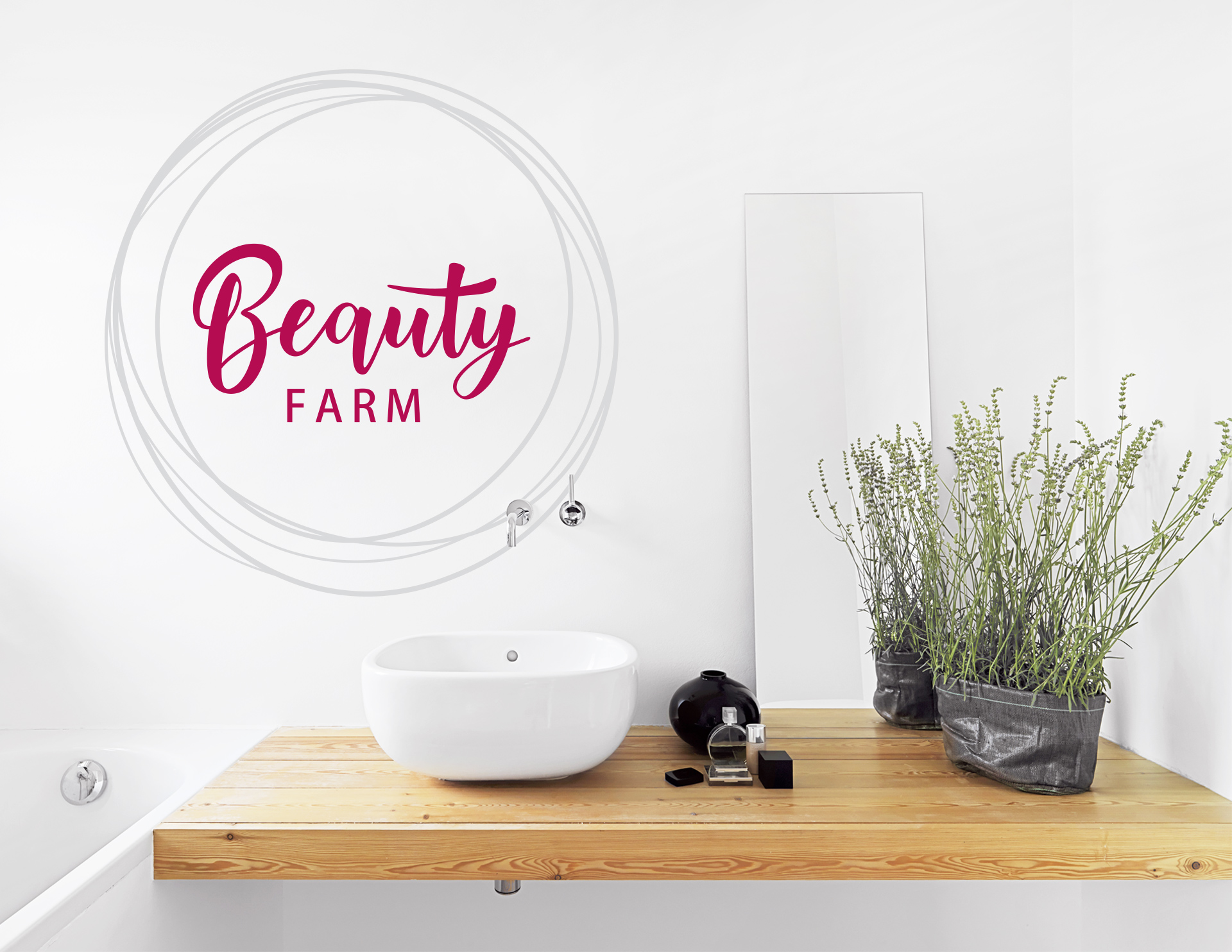 wandtattoo beauty farm f r die make up ecke in bad co. Black Bedroom Furniture Sets. Home Design Ideas