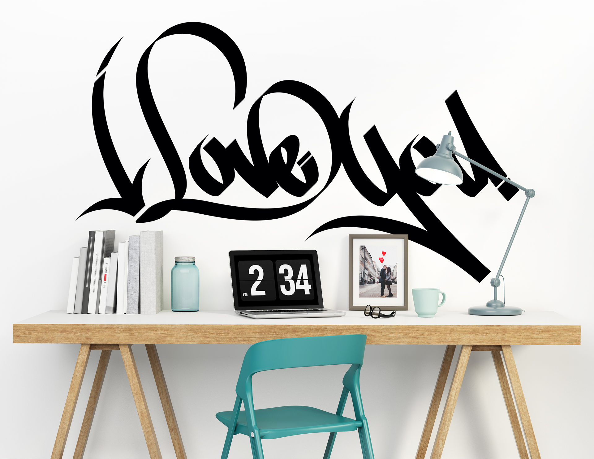 wandtattoo lovely graffiti als zeichen der liebe. Black Bedroom Furniture Sets. Home Design Ideas