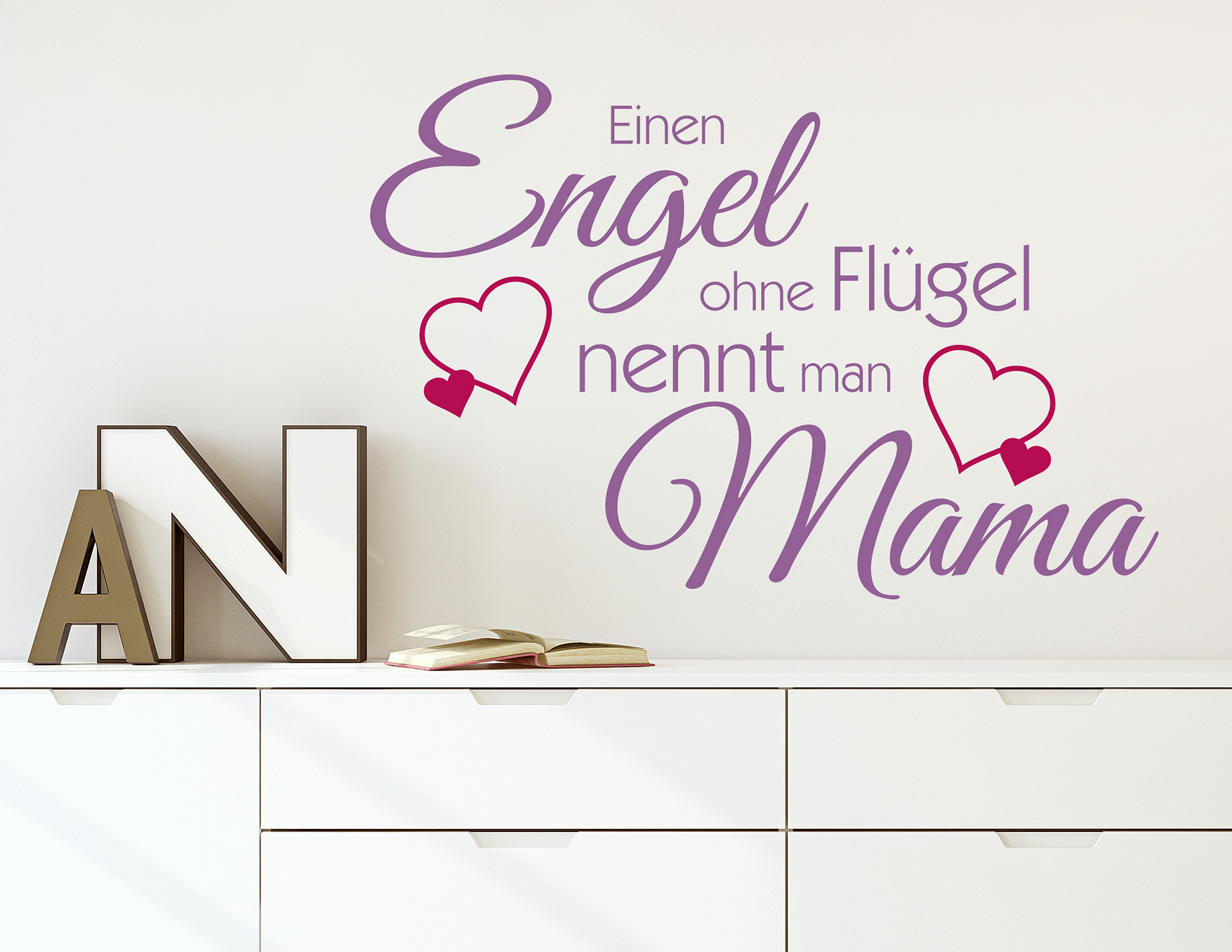 wanddesign engel ohne fl gel nennt man mama. Black Bedroom Furniture Sets. Home Design Ideas
