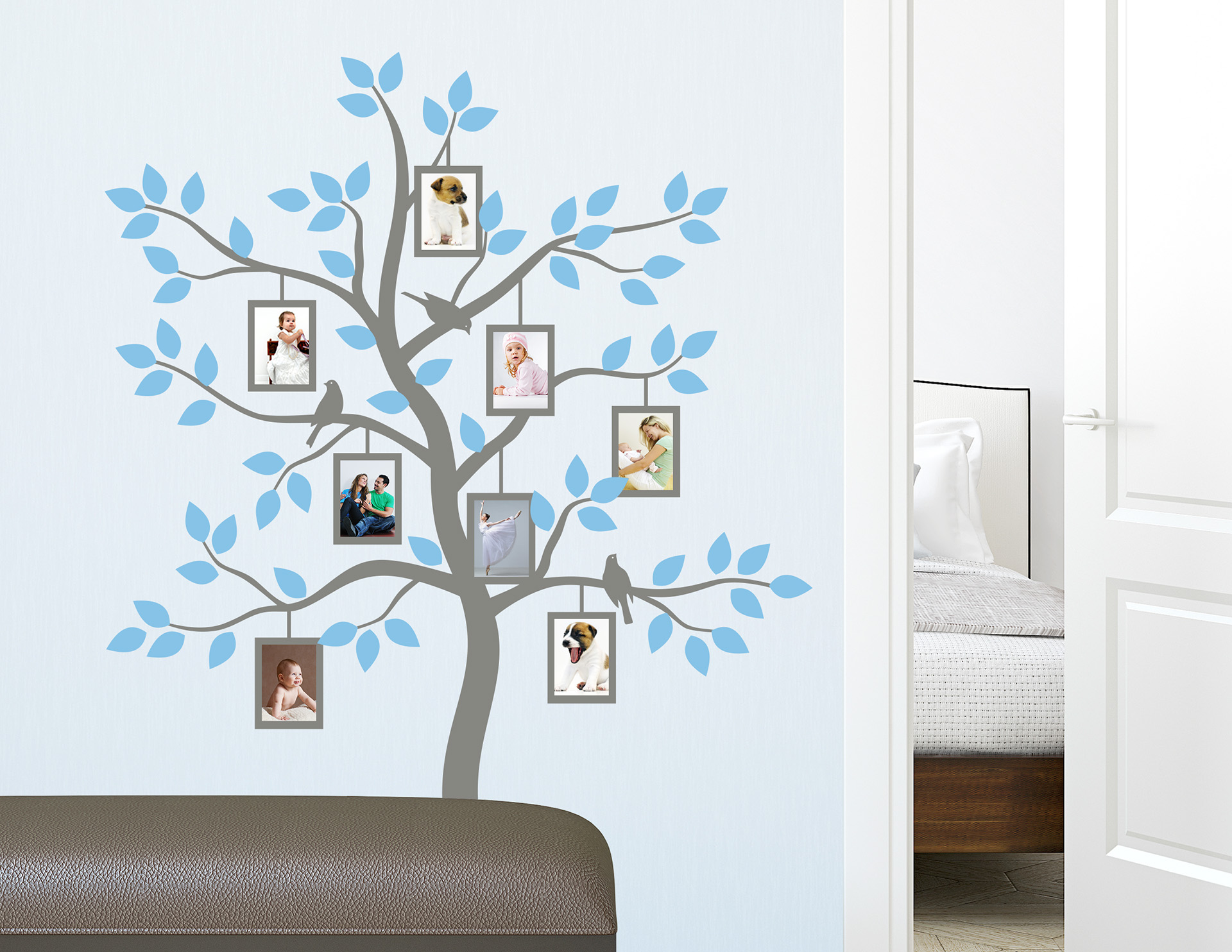 wandtattoo fotobaum familie mit 8 bilderrahmen f r fotos. Black Bedroom Furniture Sets. Home Design Ideas
