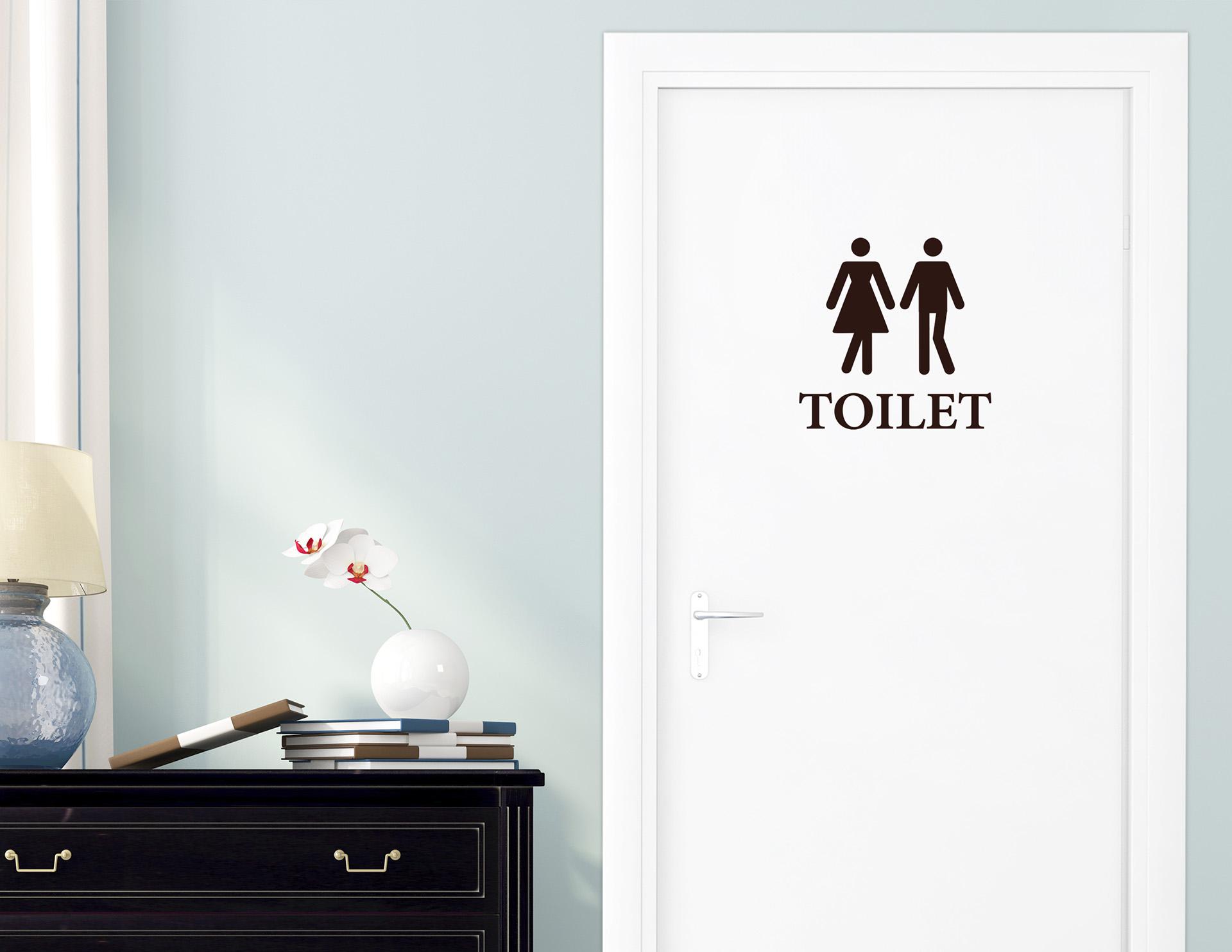 Sie & Er - Aufkleber für die Tür in Bad & Gästetoilette