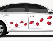 Autoaufkleber Rote Rosenblätter XS