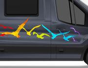Autoaufkleber Regenbogen Möwen XS