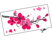 Lieferansicht Autoaufkleber Kirschblütenzweig Sakura XS