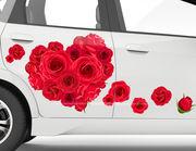 Autoaufkleber Rotes Rosenherz XS