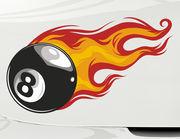 Autoaufkleber Burning Eightball XS