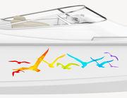 Bootsaufkleber Regenbogen Möwen XS