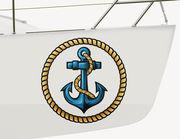 Bootsaufkleber Anker-Tau-Emblem XS