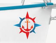 Bootsaufkleber Anker & Kompass XS