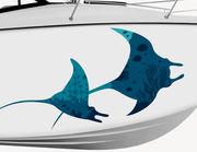 Bootsaufkleber Blaue Mantarochen XS