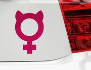 Autoaufkleber Girl Power Symbol lässt die Katze aus dem Tank