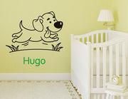 """Süßes Wandtattoo """"Hundefreund Hugo"""" mit Wunschnamen"""