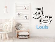 """Wandtattoo """"Zebra Baby Louis"""": Afrikas Tierwelt + Wunschname"""