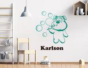 Wandtattoo Bubble Dogge Karlson + Wunschnamen