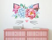 Wandtattoo Katze mit Blütenbouquet