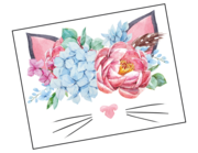 Wandtattoo Katze mit Blütenbouquet Lieferansicht