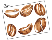 Wandtattoo Watercolor Coffee Beans