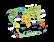 Wandtattoo Tierische Weltkarte Lieferansicht