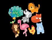 Wandtattoo Bunte Zoo-Tierkinder Lieferansicht