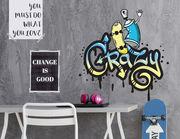 Wandtattoo Crazy Skateboard Graffiti