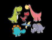 Wandtattoo Die Cartoon Dino Bande Lieferansicht